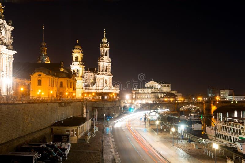夜场面在德累斯顿 库存照片