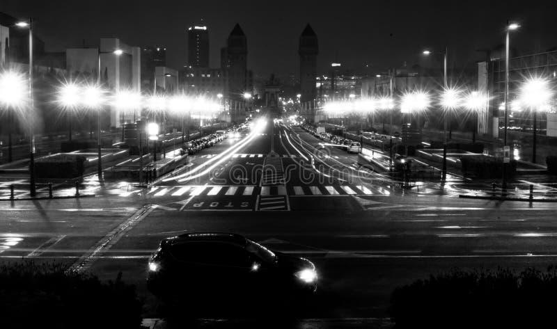 夜场面在巴塞罗那 免版税库存图片