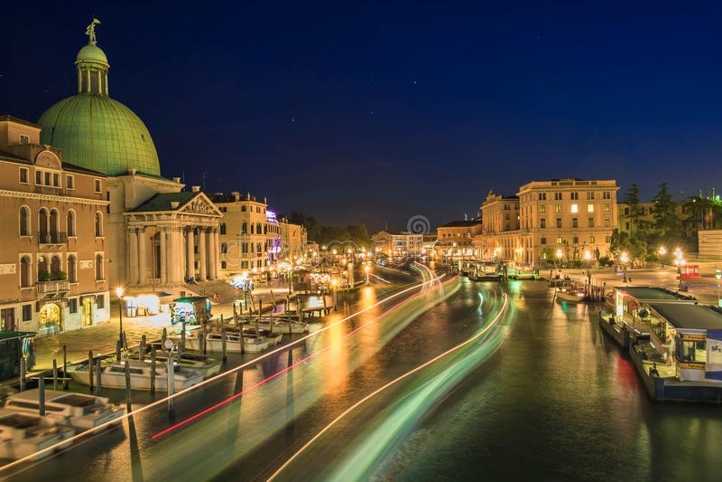 夜场面的威尼斯 库存图片