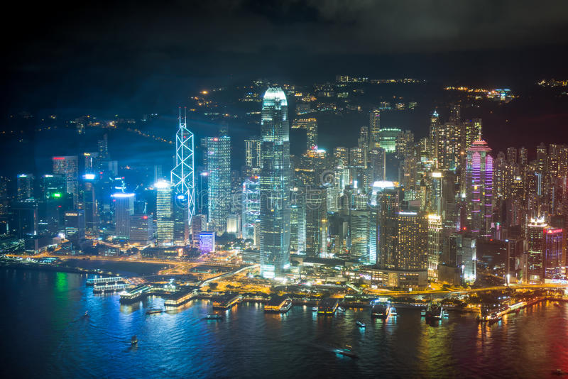 夜场面香港 免版税图库摄影