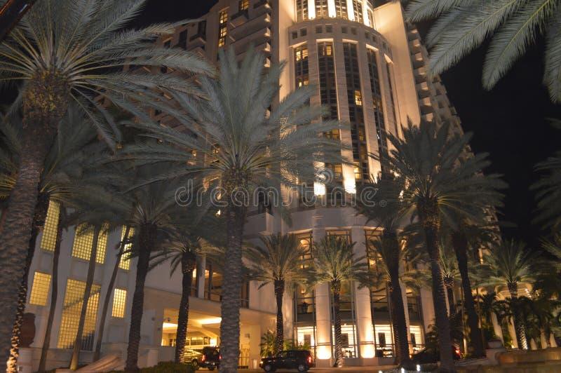 夜场面,海洋驱动,迈阿密海滩,佛罗里达 免版税库存图片