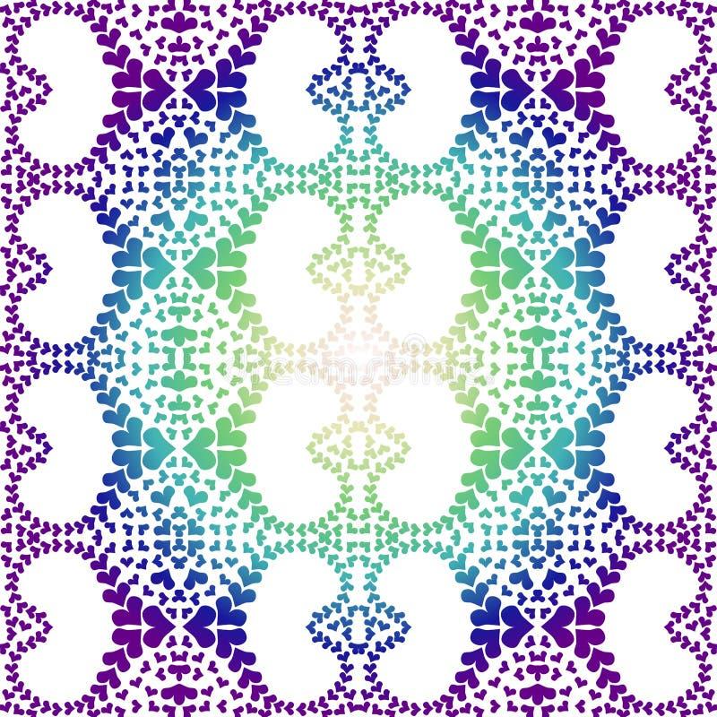 夜坛场心脏样式无缝的纹理 向量例证