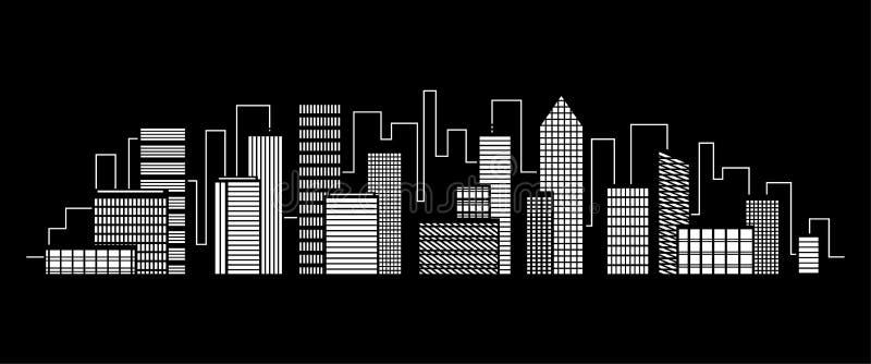 夜城市传染媒介例证 黑暗的都市scape 在平的样式,抽象背景的夜都市风景 向量例证