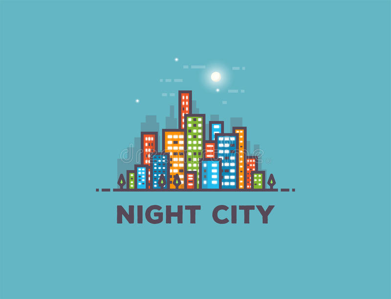 夜城市分界线全景 库存例证