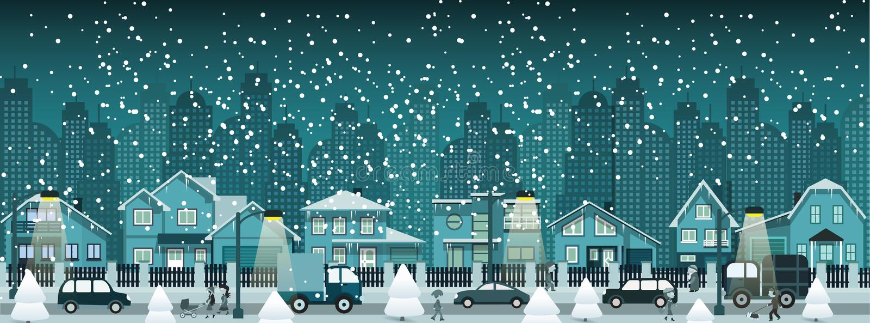 夜城市在冬天 库存例证