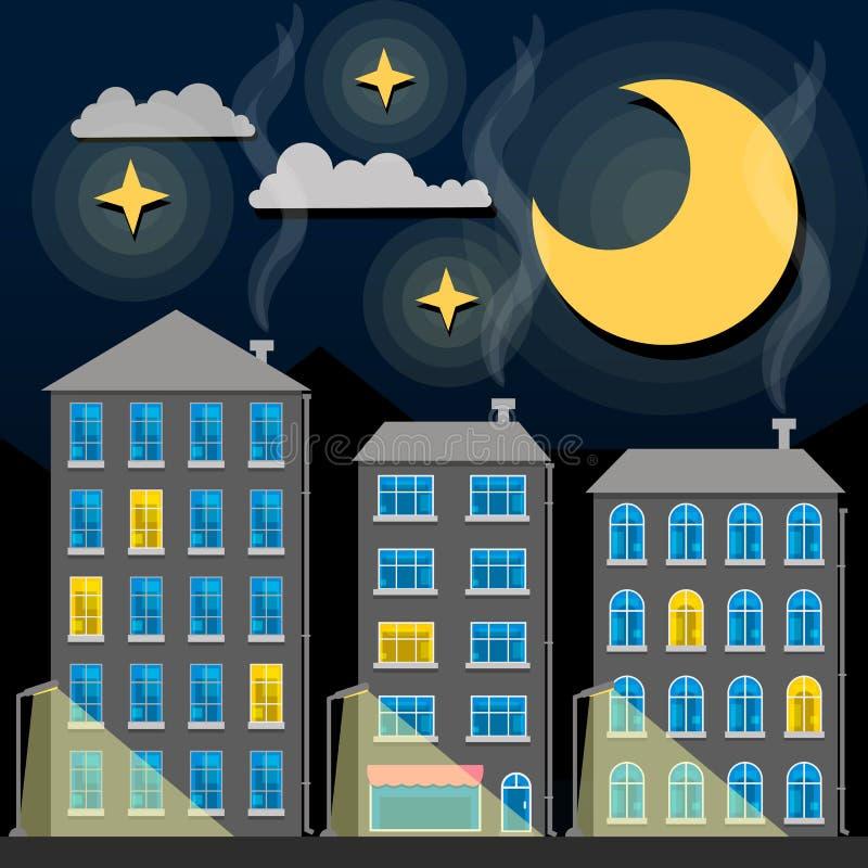 夜城市地平线剪影 老传统屋顶和暮色天空 外籍动画片猫逃脱例证屋顶向量 库存例证