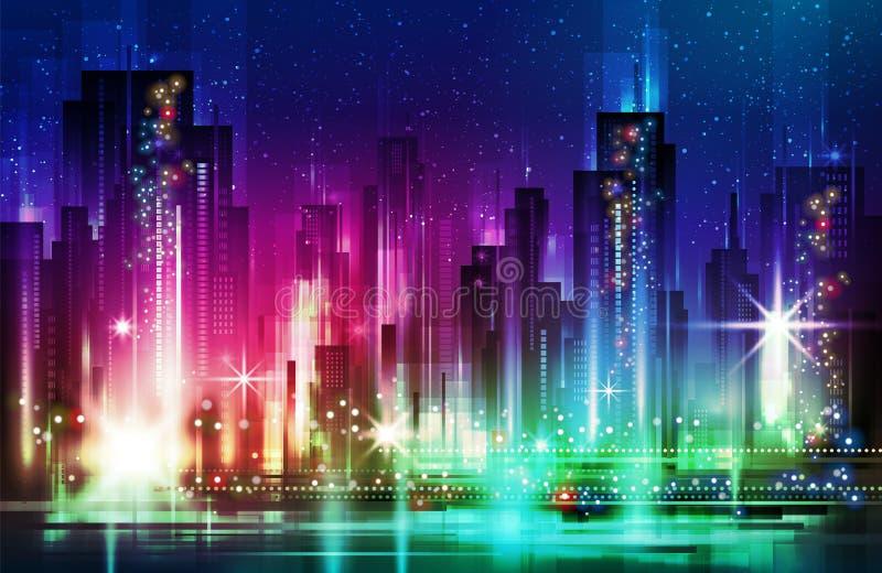 夜城市地平线,例证 向量例证