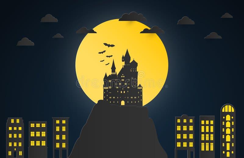 夜城市概念艺术品 纸艺术和数字式工艺样式 Ve 库存例证