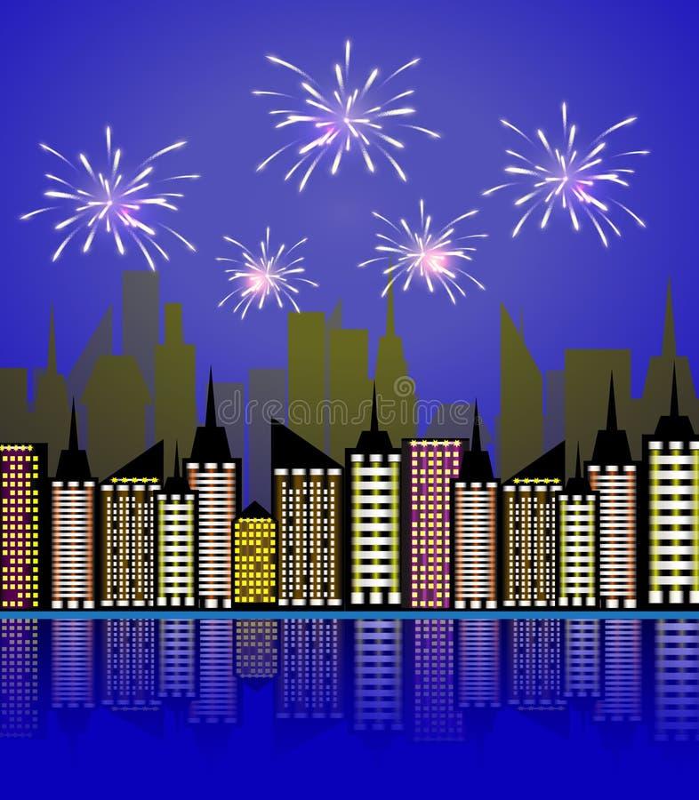 夜城市烟花 假日宴餐庆祝烟花,庆祝的欢乐爆竹在镇新年,狂欢节期间或 库存例证