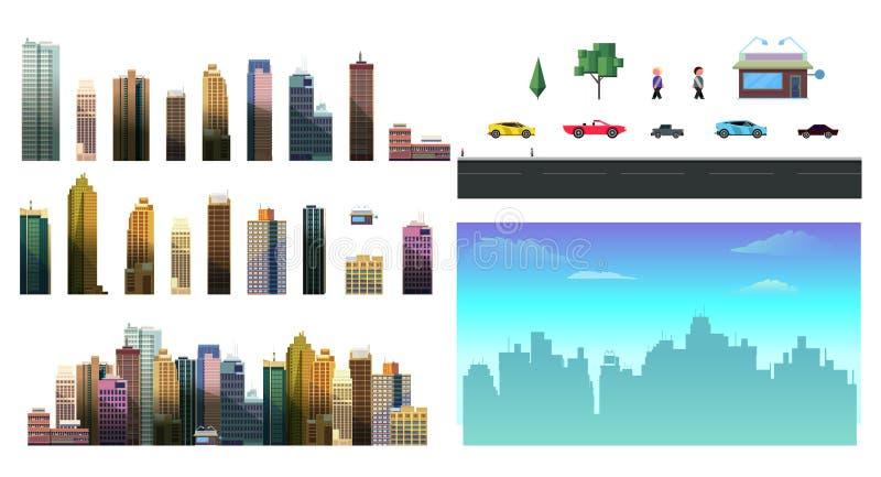 夜城市背景的建设者 容易用分开的元素-大厦创造您城市的自己的意图, 库存例证