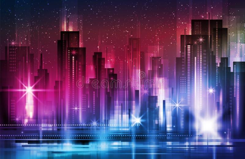 夜城市背景 都市镇街道地平线 都市风景剪影 库存例证