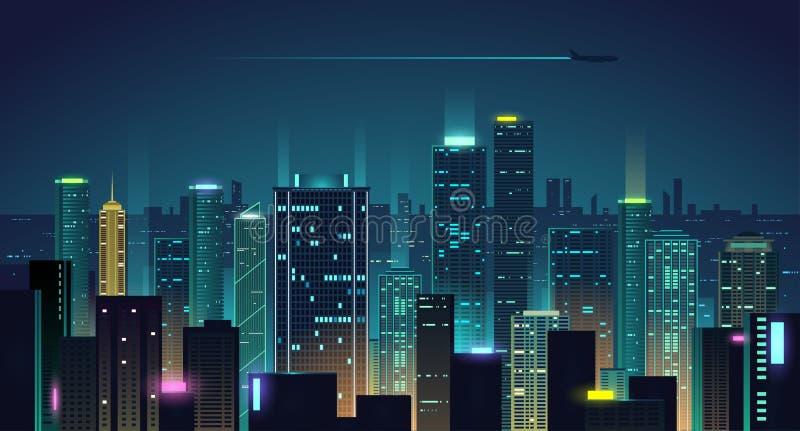 夜城市背景 皇族释放例证