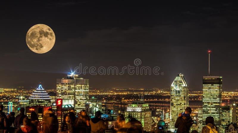 夜城市蒙特利尔 免版税图库摄影