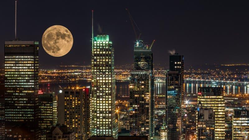 夜城市蒙特利尔 免版税库存照片