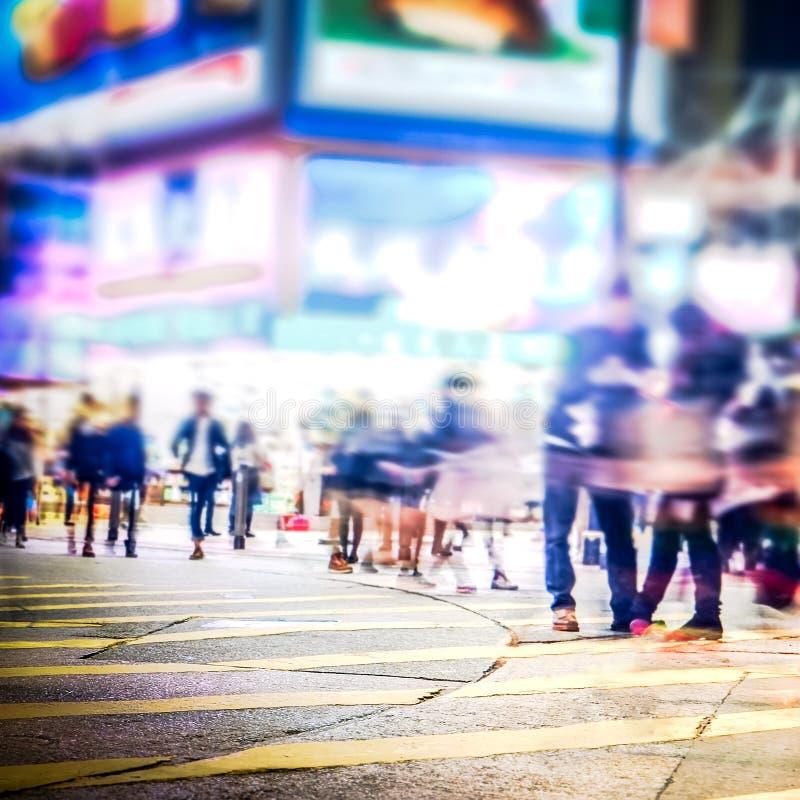 夜城市街道的被弄脏的图象 香港 免版税图库摄影
