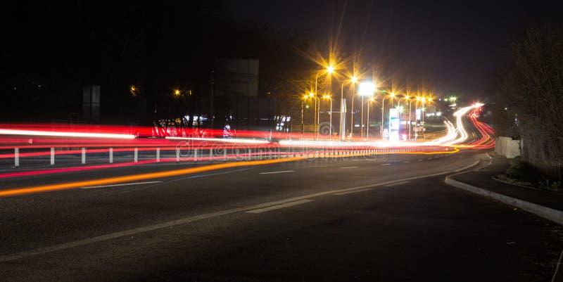 夜城市仓促 库存照片