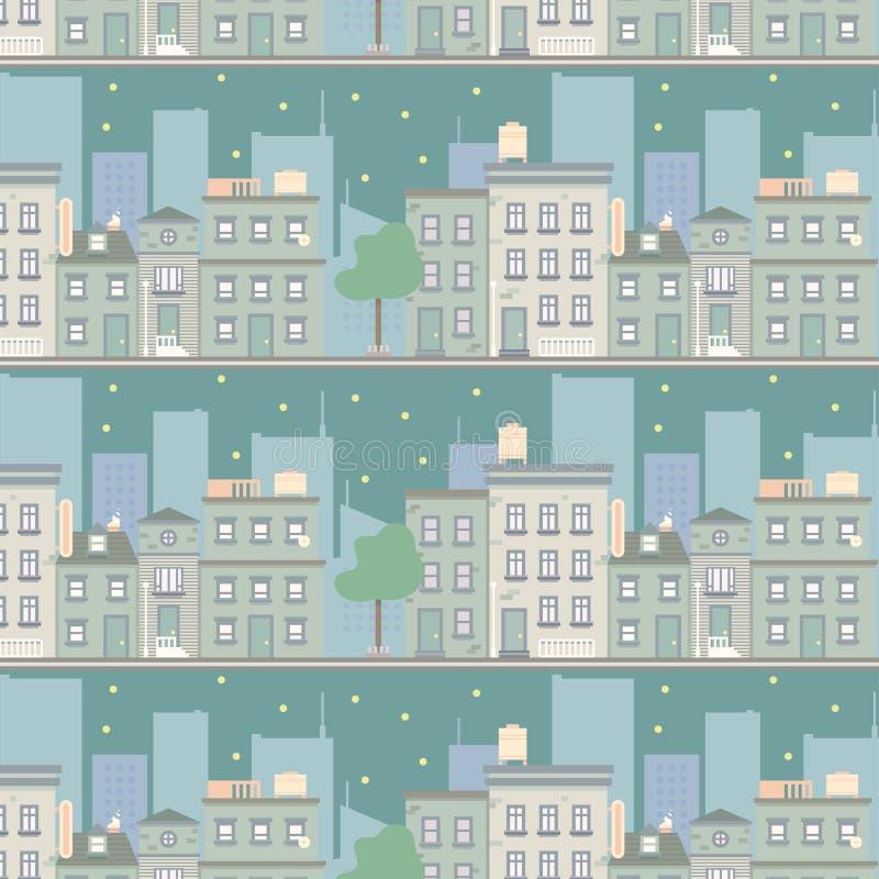 夜城市scape无缝的样式 库存例证