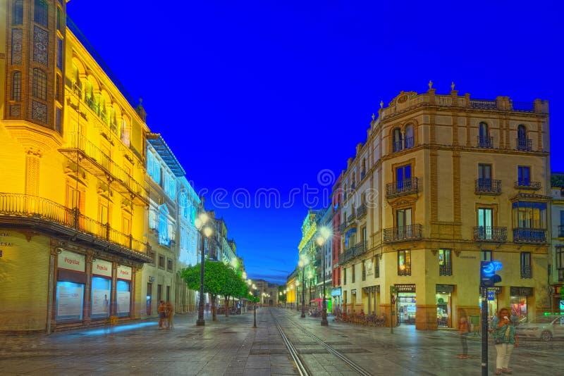 夜塞维利亚视图街道在塞维利亚大教堂附近的 西班牙 免版税库存图片