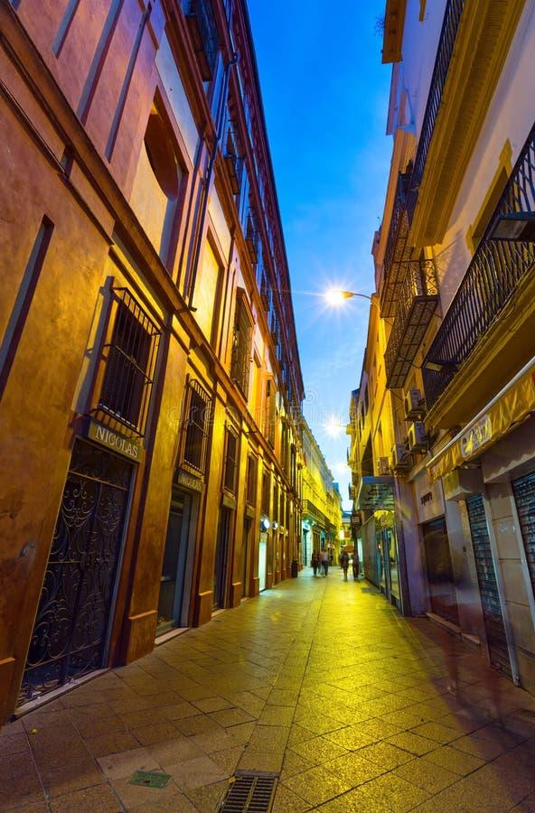 夜塞维利亚市视图西班牙 免版税库存图片