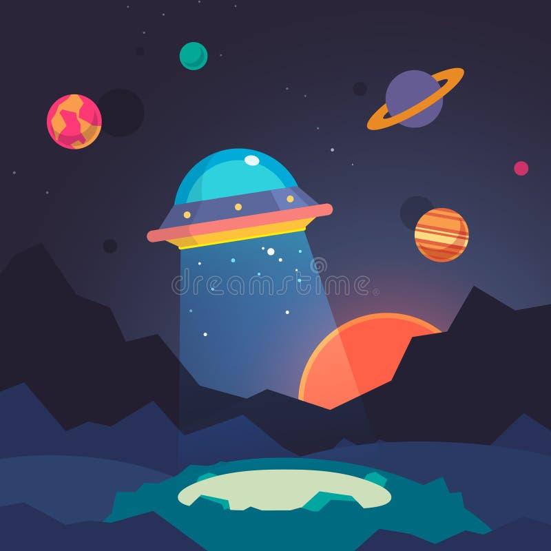 夜外籍人世界风景和飞碟太空飞船 向量例证