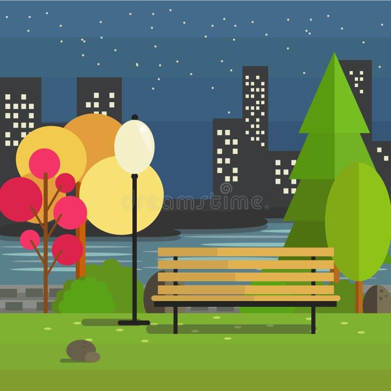 夜室外公园 向量例证