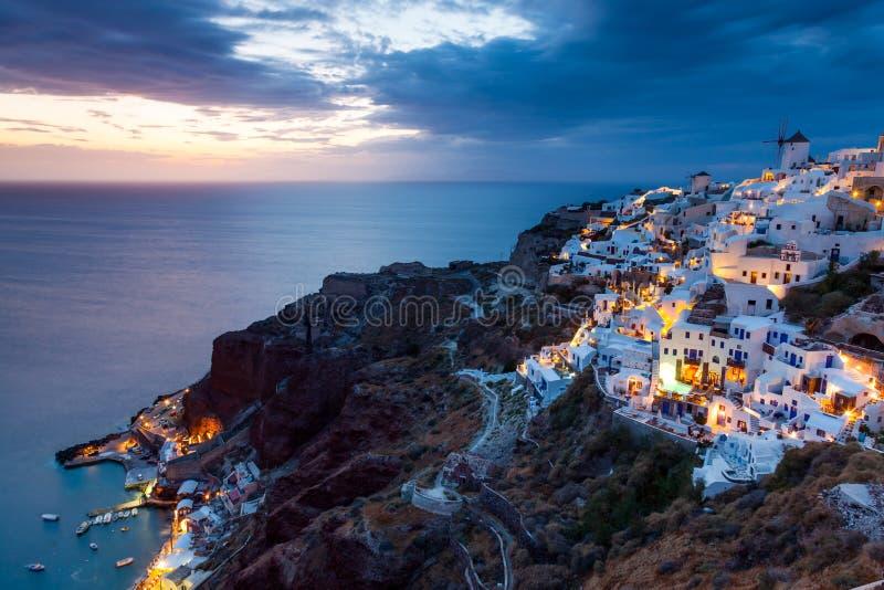 夜射击Oia圣托里尼希腊 库存照片