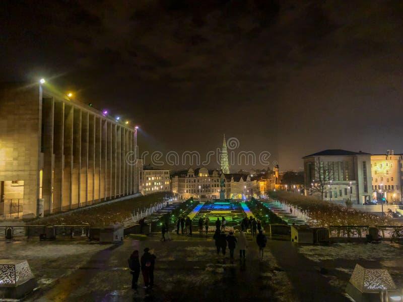 夜布鲁塞尔城市地平线  库存照片