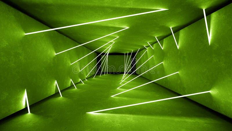 夜总会内部绿灯3d为激光展示回报 发光的绿线 摘要萤光绿色背景 向量例证