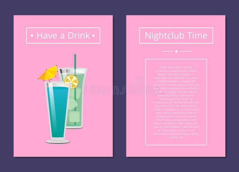 夜总会时间有一个饮料Mojito薄菏鸡尾酒 向量例证