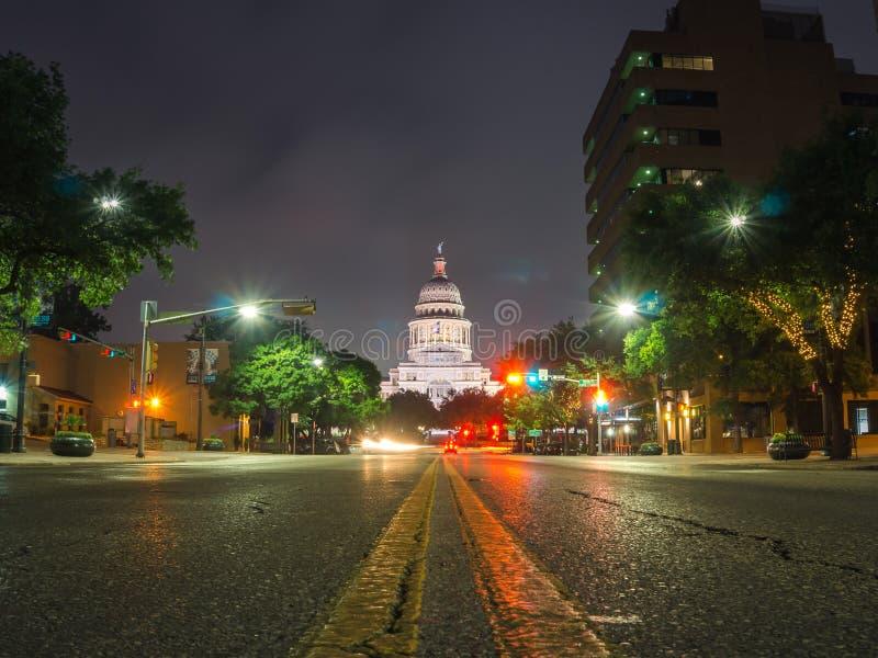 夜摄影的街市奥斯汀得克萨斯 免版税库存照片