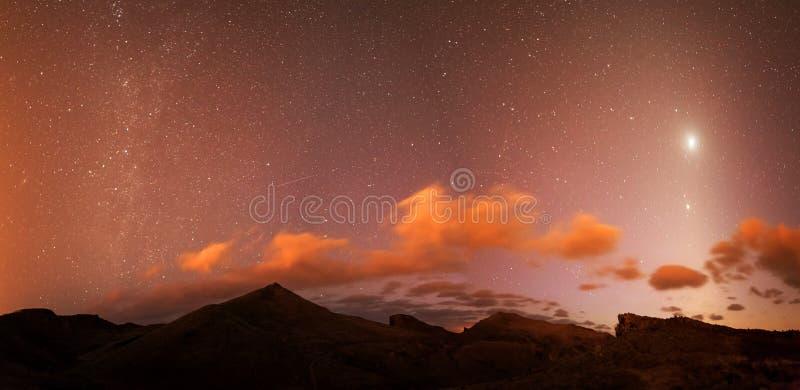 夜星全景马德拉 免版税库存图片
