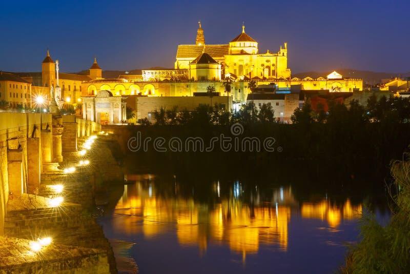 夜梅斯基塔和罗马桥梁在科多巴,西班牙 免版税库存图片