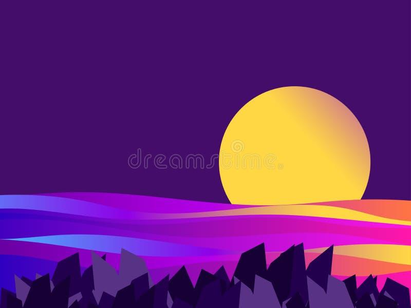 夜海景 日落,梯度波浪 黄色,蓝色和紫色梯度 ?? 库存例证