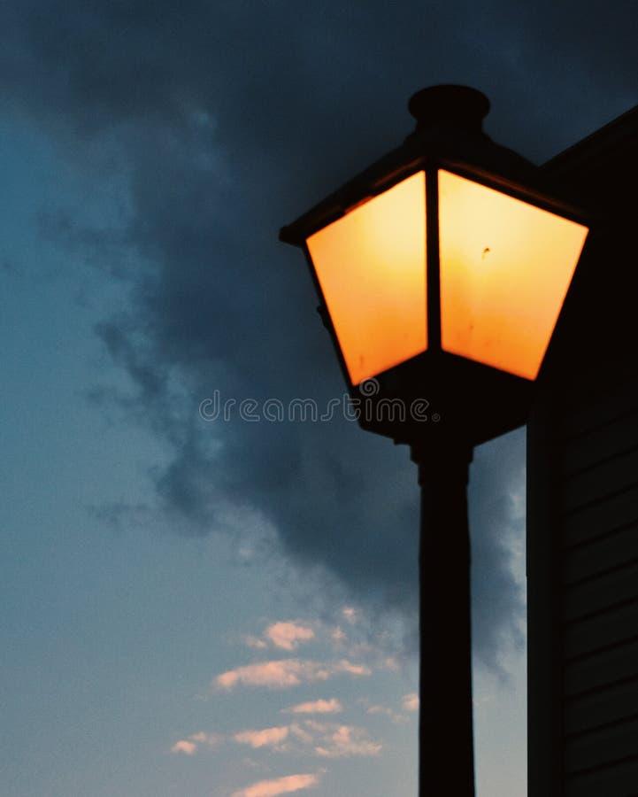 夜灯,日落,户外,弗吉尼亚 免版税库存照片