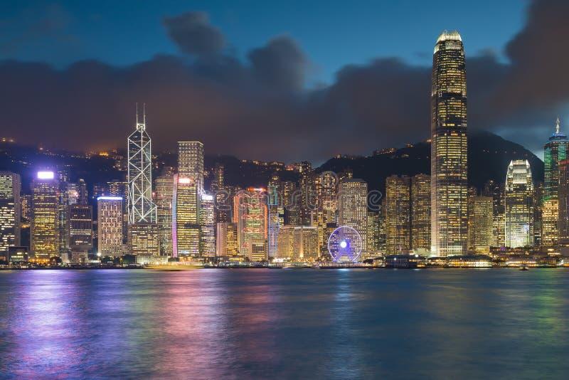 夜点燃,香港市中央商业区 免版税图库摄影