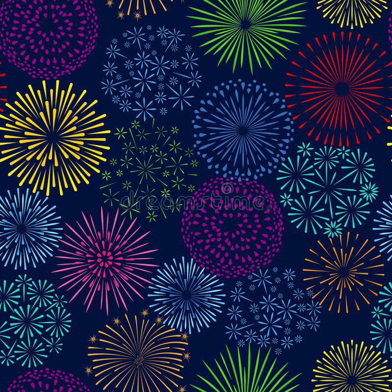 夜烟花无缝的样式 庆祝烟花传染媒介背景 向量例证