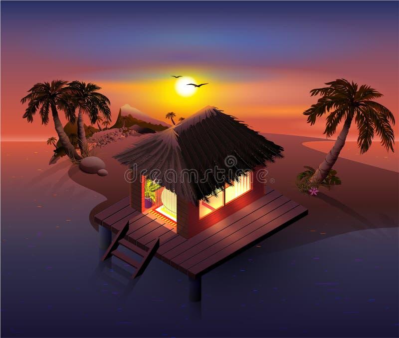 夜热带海岛 棕榈树和棚子在海滩 皇族释放例证