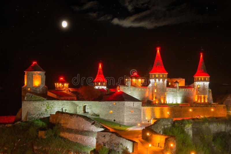 夜照明设备城堡 库存照片