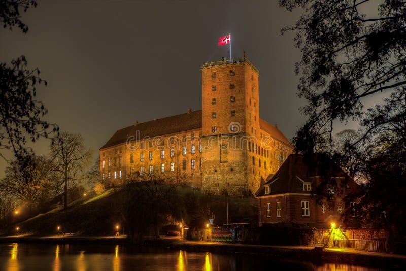 夜照片HDR Koldinghus一座老城堡ind科灵 库存照片