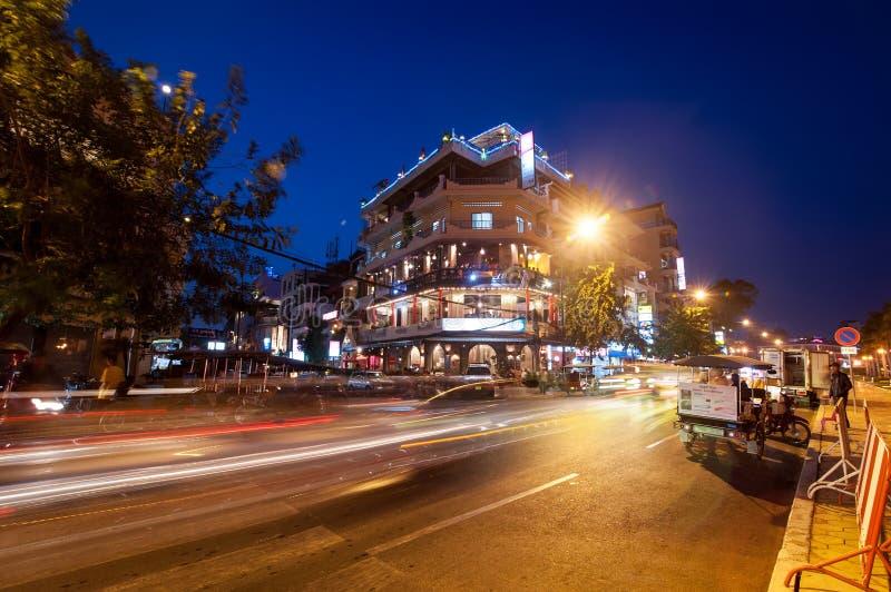夜生活场面在首都金边,柬埔寨 库存图片