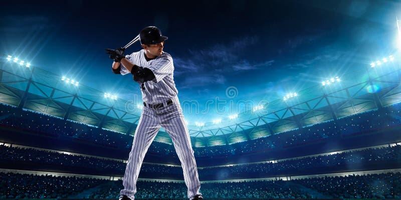 夜盛大竞技场的职业棒球球员 免版税库存图片