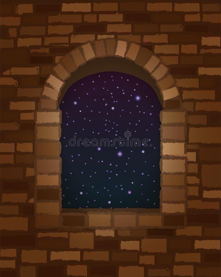 夜空在罗马式样式墙纸的被成拱形的石窗口里 库存例证