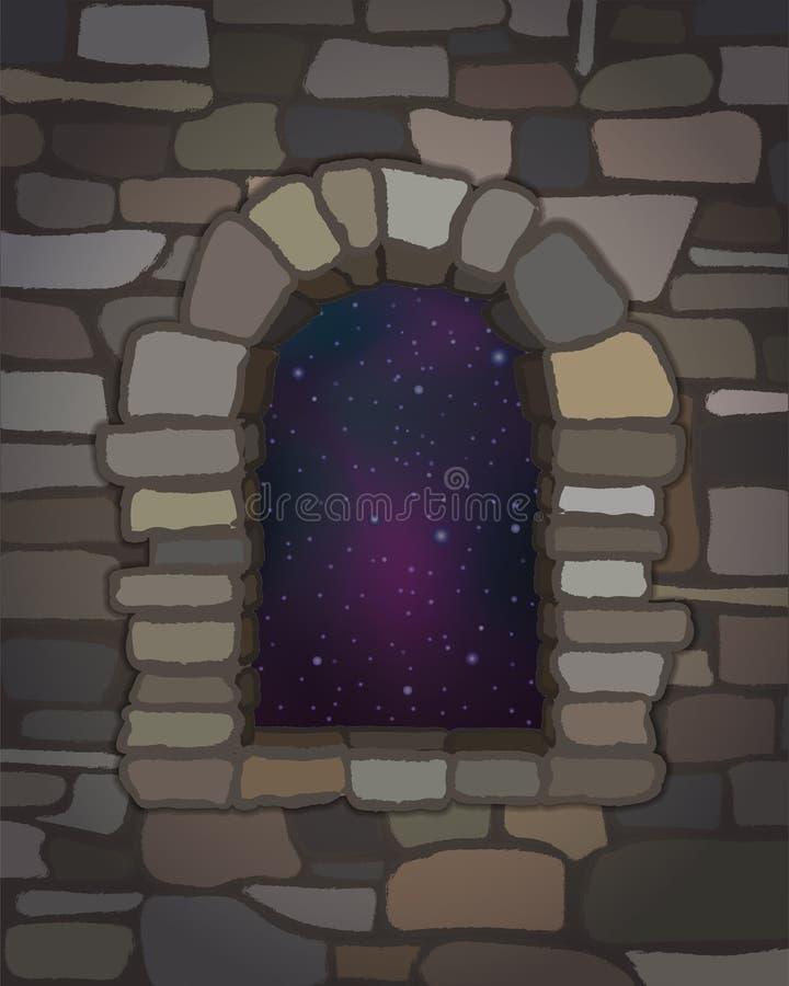 夜空在visigothic样式的被成拱形的石窗口里 向量 向量例证