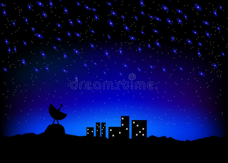 夜空城市scape 向量例证