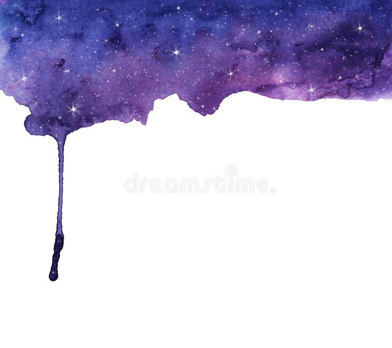 夜空星形 抽象下来水彩流程手画背景 库存例证