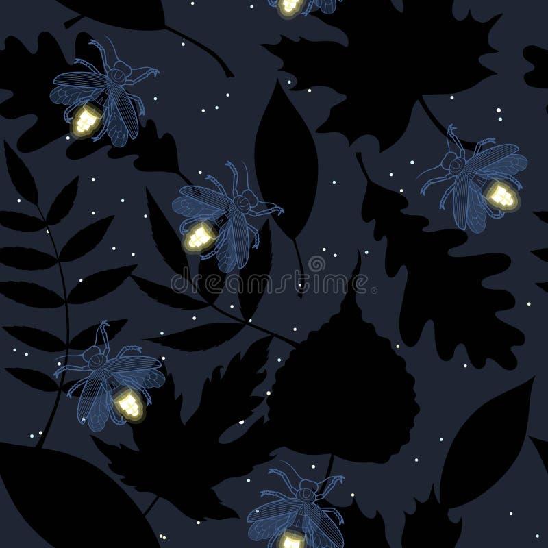 夜空的星光和萤火虫 向量例证