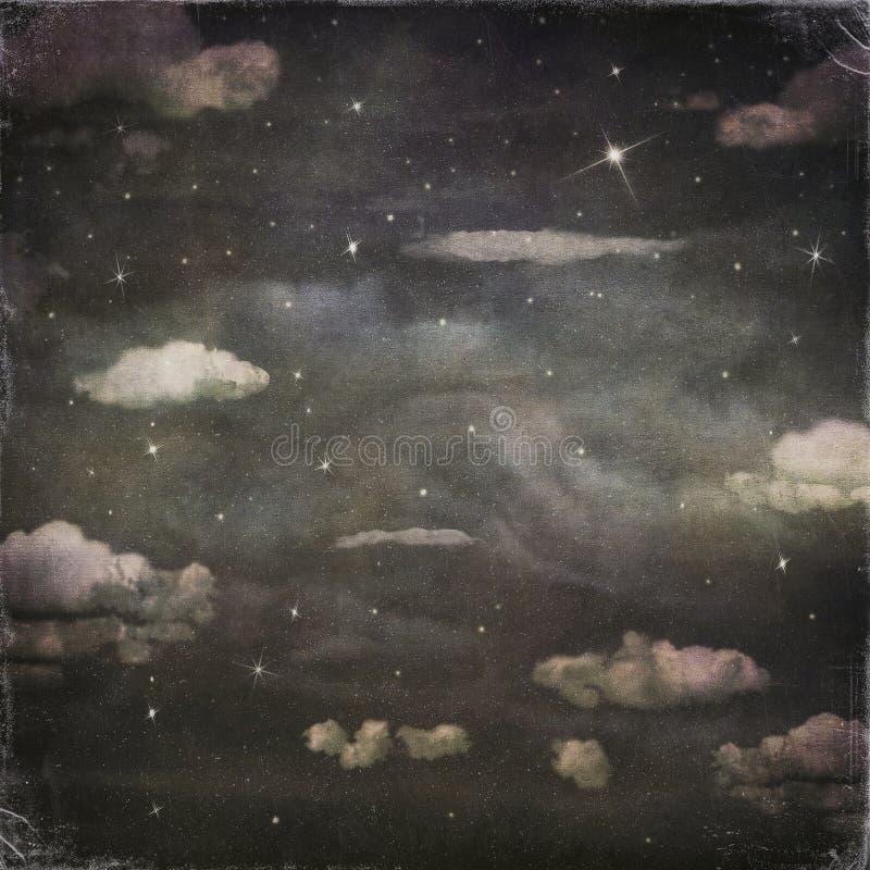 夜空的难看的东西背景与云彩的 向量例证