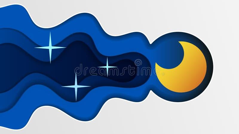 夜空艺术设计月亮星纸动画片睡眠传染媒介例证背景图表云彩自然 向量例证