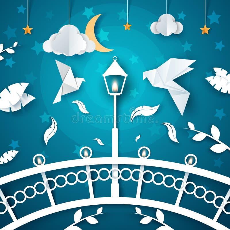 夜纸风景 鸠,街灯,云彩,月亮 桥梁 向量例证