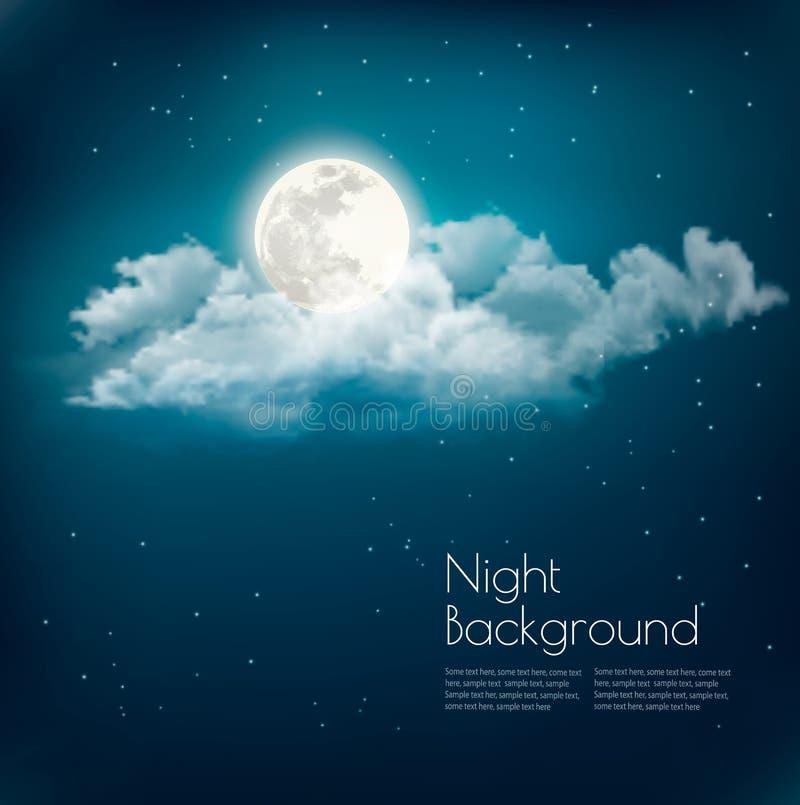 夜自然与云彩和月亮的天空背景 皇族释放例证